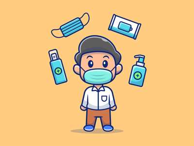Boy Wear Mask With Health Stuff cartoon logo vector icon illustration man male virus coronavirus corona health disinfectant sanitizer hand soap tissue mask medical wear boy