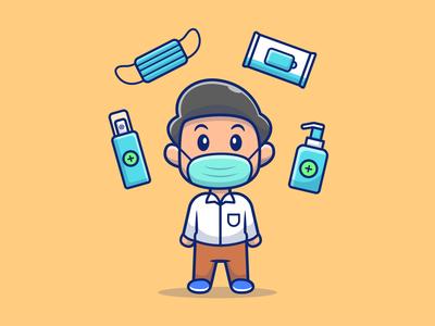 Boy Wear Mask With Health Stuff cartoon logo vector icon illustration man male virus coronavirus corona health disinfectant sanitizer hand soap tissue mask medical wear boy