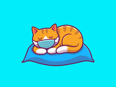 stay sleep...stay home 😽💤💤 cartoon logo icon illustration pet animal kitten kitty house stayhome stay virus mask medical pillow bed lying lazy sleeping cat