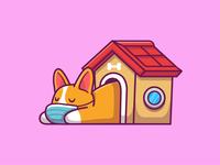 stay sleep...stay home 🐶💤💤 character cartoon cute logo icon illustrations coronavirus virus animal pet corgi puppy doggy lazy stayhome home house bone sleeping dog