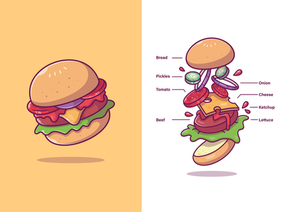 Burger Ingredients🍔🍔😝 menu logo vector icon illustration lettuce kecthup beef cheese onion tomato pickle bread fastfood fast secret formula recipe ingredient burger