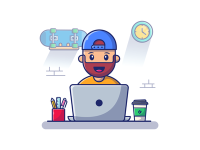 Quarantine day 1264729......🧔 designer programmer freelancer technology computer character mascot logo icon illustration workspace man coffee skateboard have beard laptop home work quarantine