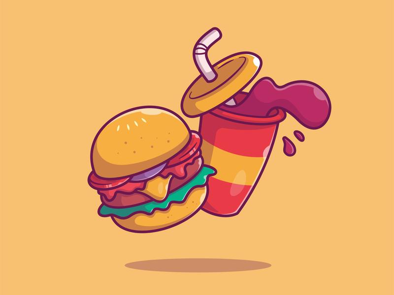 Burger And Soda🍔🥤 ketchup fat hamburger cup cola sandwich beverage drink logo icon food illustration restaurant menu cheese junkfood fastfood food fast soda burger