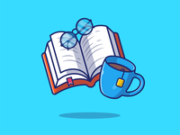 Reading 📚☕ drink logo icon illustration hobby education study learning student books sheet page chocolate tea coffee mug glass glasses book reading