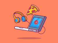 Streaming Music And Movies 💻🍕 music listening headphone logo icon illustration technology food fast junkfood play laptop cheese pizza youtube netflix streaming film cinema movies