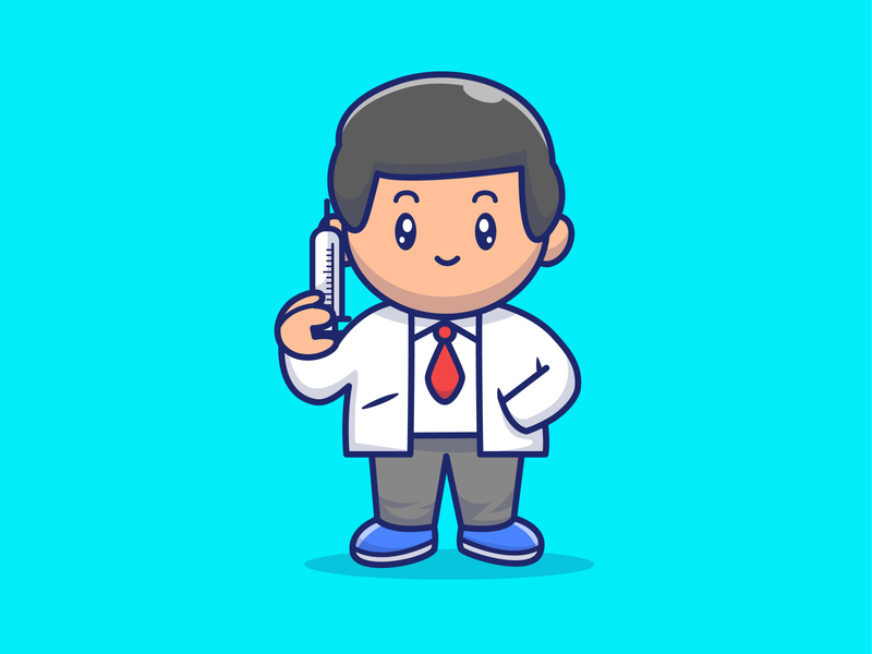 Thank you for all medical personnels in our country ☺️❤️😽 coronavirus corona virus vaccine cure hospital icon illustration logo cute man medicine health medical people character cartoon inject doctor