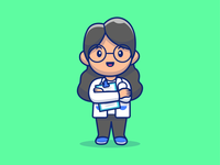 Thank you for all medical personnels in our country ☺️❤️😽 cure vaccine virus coronavirus corona clinic cute cartoon character logo icon illustartion stethoscope hospital healthcare health medical doctor woman female