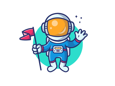 """We're Touchdown Capt!!!"""" 👨🚀🏁🌝 planet universe galaxy earth helmet cute astro moon people icon illustration logo mascot character spaceman cosmonaut rocket flag space astronaut"""