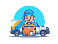 Shipping And Delivery Illustration 📦🚚😹 vehicle logo icon vector illustration business people man box shipping box car truck delivery truck building package delivery store shope ship shipping