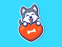 Animals and what they loves 🐶🐼🐰😸🐻🐀 cute mascot cartoon logo icon illustartion food animal heart love mouse bear rat kitten cat bunny rabbit panda husky dog