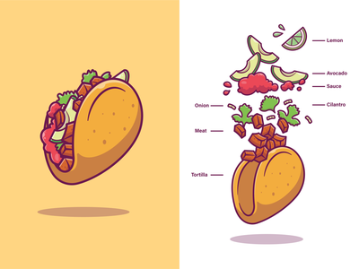 Taco Ingredients🌮🌮😝 spicy restaurant dinner lunch meal tacos tortilla sauce lemon avocado meat logo icon illustartion ingredients fast food nachos mexican taco