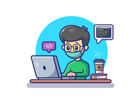 work and study from home got me like.....😪😷💻 people logo icon illustration study headphone food cat book coffee freelancer programmer developer code laptop desktop computer home from work