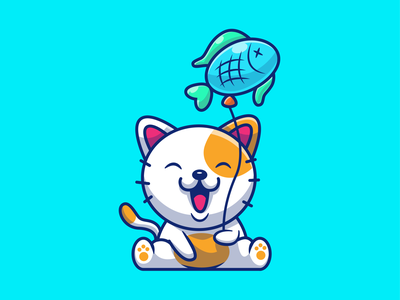 cat and their activites 😽🐟🍔🍜🍕❤️ icon illustration logo pet animal mascot character cartoon love french fries burger drink food soda pizza noodle ramen eat fish cat