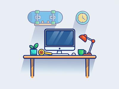 workspace 💻🖥️ freelancer designer programmer developer vector logo icon illustration office work workplace workdesk screen technology table pc computer desktop laptop workspace