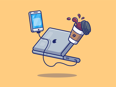 gadgets 💻☕📱🎧 desktop work drink vector logo icon illustration smartphone earphone headphone music coffee computer laptop mobile phone tech technology device gadget