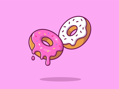 Donuts 🍩☕ pastry sugar pink glazed dessert restaurant logo icon illustration bakery breakfast friend coffee sweet cake strawberry doughnuts doughnut donuts donut