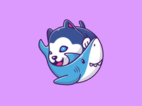 shark and husky 🐶🦈 friend siberian sticker fish smile happy logo icon illustration pet animal character mascot cartoon cute baby puppy dog husky shark