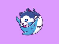 shark and husky 🐶🦈 friend siberian sticker fish smile happy logo icon illustration pet animal character mascot cartoon cute baby puppy dog husky shark