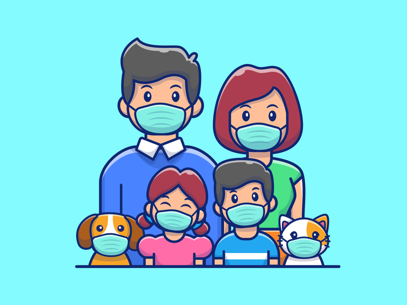 new normal 😷😬📖💻 virus character logo icon illustration corona sleeping cat dog hand washing home working reading pet family people mask normal new