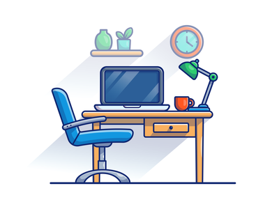 study workspace 💻🖥️📖 logo icon illustration technology education monitor table chair lamp coffee book work workdesk desktop computer laptop home learn study workspace