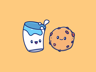 breakfast!! 🍪🥛🍞☕ drink food kawaii mascot cute character logo icon illustration toasted jam strawberry bread coffee cup glass chocolate cookies milk breakfast