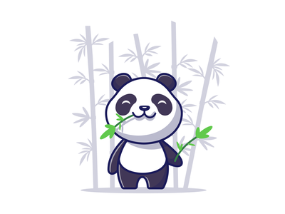 panda loves bamboo 🐼 🍃 baby zoo nature black white wildlife flat tree mascot logo icon illustration bear leaves character cute animal eat bamboo panda
