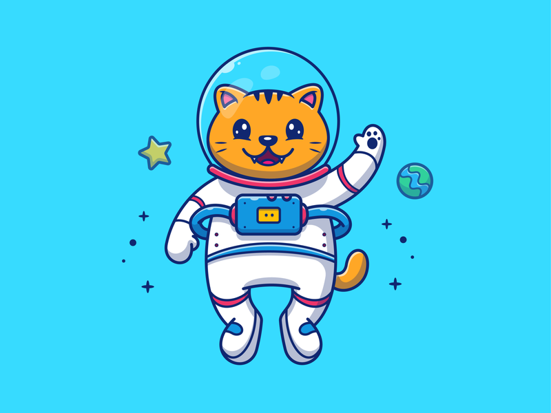 catstronaut...😹👨‍🚀🚀🌠 surfing logo icon illustration spaceman star cartoon cute fly rocket fish planet space cosmonaut astronaut kitty kitten pet animal cat