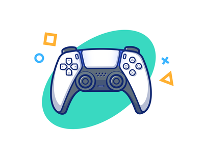 PS5 🎮😻 wireless technology arcade logo icon illustration gaming white gamer entertainment video joystick controller stick console game play player playstation