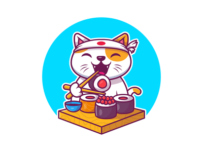 sushi cat! 🍣🥢 😽 fish animal cartoon icon illustration logo mascot character cute pet kitten kitty japanese japan food nigiri salmon chopstick cat sushi