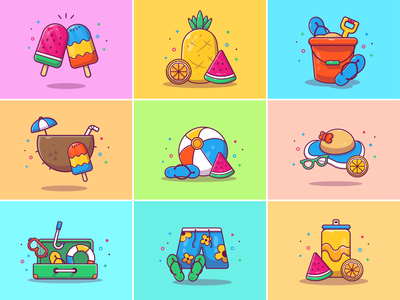 summer vibes!! 😎🍦🍍🍉🌊 logo icon illustration summertime swimming beach vacation holiday ball coconut sandals bucket sand fruit orange watermelon pineapple icecream ice summer