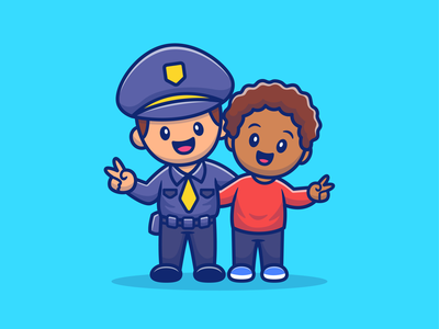 👮🏻♂️👨🏾🦱👦🏻👩🏾🦱👧🏻 logo icon illustration character embrace peace relationship friendship friend love girl woman boy man children kid peoples police racism stop
