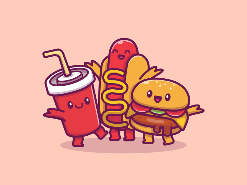 fast food family!! 😹 🍔 🍕🌭🍟🍦🍿🥤 meal snack character mascot logo icon illustration drink happy cute kawaii food fast popcorn sauce soda hotdog french fries pizza burger
