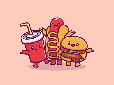 fast food family!! 😹 🍔 🍕🌭🍟🍦🍿🥤 meal snack character mascot logo icon illustration drink happy cute kawaii food fast popcorn sauce soda hotdog french fries pizza burger