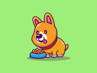 midget corgi 😂🐶 welsh food eat logo icon illustration mascot character animal doggy pet cute jump run sleep pee play puppy corgi dog