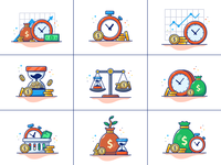 time is money ⏱️⌛💸💰 payment income bank cash clock finance business stopwatch cartoon logo icon illustration investment saving hourglass gold coins dollar money time