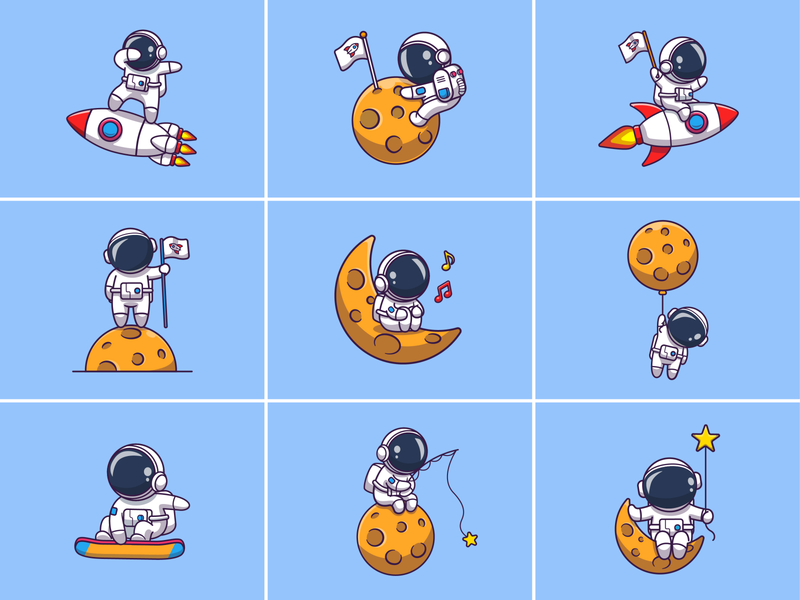 Astronauts!!! 👨‍🚀🚀🌙 flight icon illustration logo character mascot spaceship technology science galaxy cosmonaut spaceman star stars planet moon rocket space astro astronaut