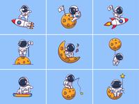Astronauts!!! 👨🚀🚀🌙 flight icon illustration logo character mascot spaceship technology science galaxy cosmonaut spaceman star stars planet moon rocket space astro astronaut