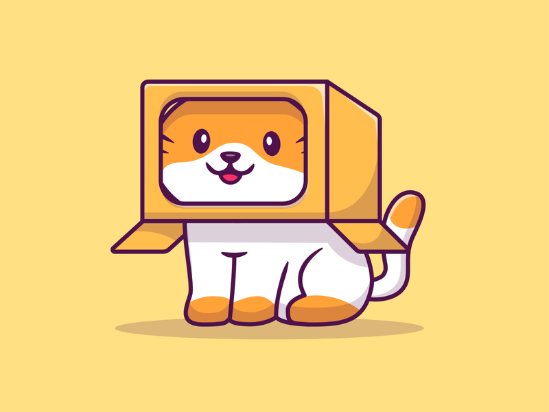 cat and box! 😹😽📦 cartoon animal pet icon illustration logo mascot character kitty kitten cardbox carton sleep smile cute happy hide and seek play box cat