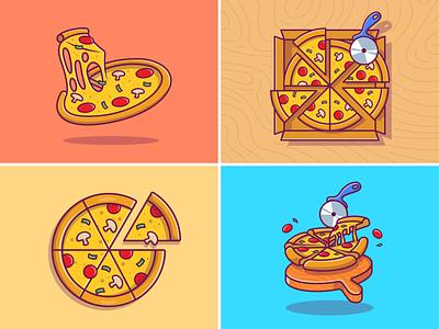 Pizza! 🍕🍕 salami basil italian mozzarella meal logo icon illustration melt slice wood scissors cutter eat fastfood sausage bread cheese melted pizza