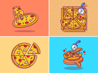 Pizza! 🍕🍕 salami basil italian mozzarella meal logo icon illustration melt slice wood scissors cutter eat fastfood sausage bread cheese melted pizza