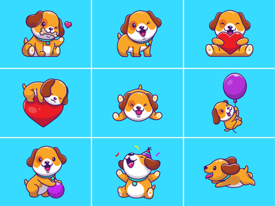 Cute Dog 🐶🦴 smile happy logo icon illustration pet animal birthday balloons ball eat bone mascot character sleep love doggy puppy dog cute