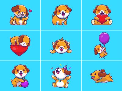 Cute Dog 🐶🦴 smile happy logo icon illustration pet animal birthday balloons ball eat bone mascot character sleep love doggy puppy dog cute