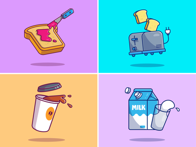 Breakfast Stuff! 🍞 ☕🥛 healthy meal logo icon illustration cup lunch morning eat drink food toasted toast toaster milk coffee strawberry jam bread breakfast