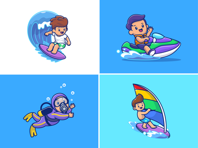Water Sports 🌊🛥️🏊🏄‍♂️ character logo icon illustration surf wave sea ocean summer beach kayak windsurfing surfer surfing swimming diving boat motorboat sport water