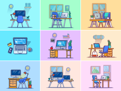 workspace setup.. 🖥️💻👨💻 interior office technology icon illustration designer window programmer freelancer coffee drink food table chair laptop desktop pc computer workplace workspace