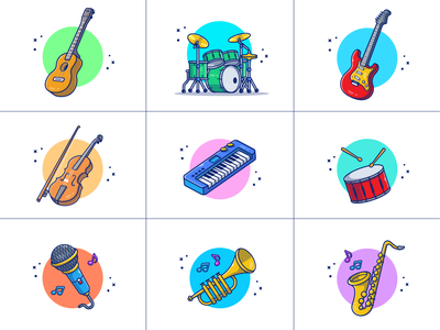 music instruments... 🎵🎶🎹🎤🎺🎻🎷🎸🥁 concert cartoon logo icon illustration player musical trumpet violin piano drum song sing sound electric accoustic guitar microphone intrument music