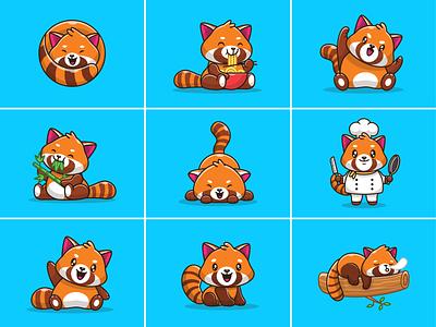 red panda....😆🍜🍃 logo illustration icon character mascot baby kawaii happy cute play chef sleeping leaves bamboo eat noodle ramen red panda panda red