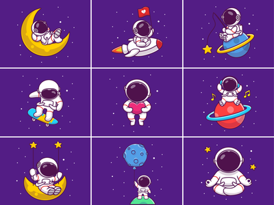 Playing Outer Space 👨‍🚀🧑‍🚀✨ music icon illustration logo character mascot yoga flying floating love skateboards skateboard stars planet fishing spaceship rocket spaceman astronaut space