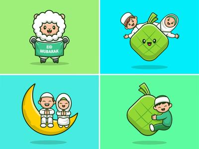 Happy Eid Al Adha 🐑🐑 people illustration icon logo character ramadan qurban eid al fitr eid al adha mubarak eidmubarak eid ketupat food animal religion islam moslem goat sheep