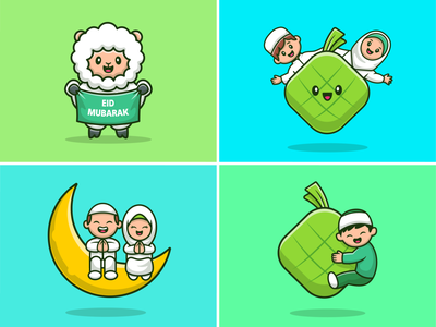 Happy Eid Al Adha 🐑🐑 people illustration icon logo character ramadan qurban eid al fitr eid al adha mubarak eidmubarak eid ketupat food animal religion islam moslem goat sheep